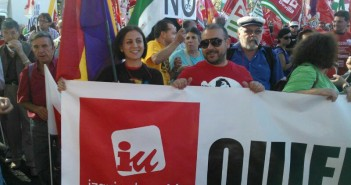 Héctor Izquierdo en una manifestación
